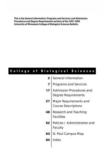 C o l l e g e o f B i o l o g i c a l S c i e n c e s - University Catalogs