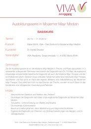MMM I - Basiskurs - VIVA - Das Zentrum für Moderne Mayr Medizin