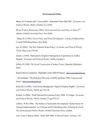 Environmental Policy Bhatia, B, N Sundar and V Xaxa (2005 ... - Envis