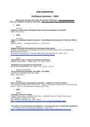BIBLIOGRAPHIE Politiques jeunesse - 2004 - Injep