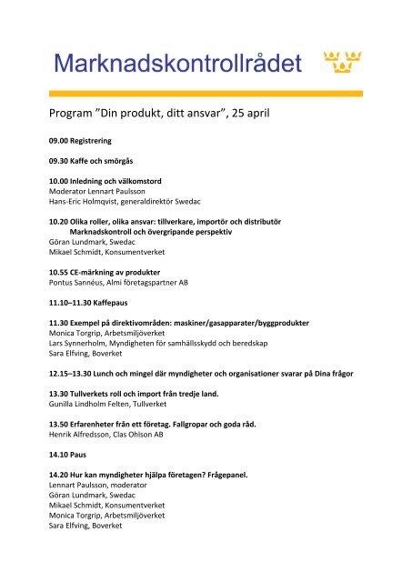 """Program """"Din produkt, ditt ansvar"""", 25 april"""