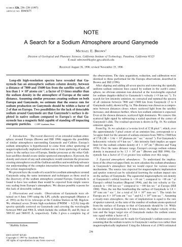 NOTE A Search for a Sodium Atmosphere around Ganymede