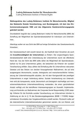 Stellungnahme Spendenabsetzbarkeit - Ludwig Boltzmann Institut ...