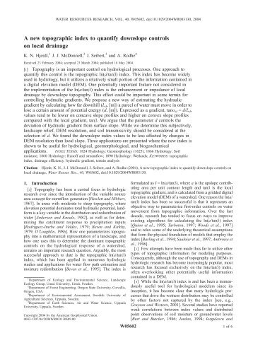 A new topographic index to quantify downslope controls on local ...