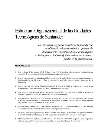 Estructura Organizacional de las Unidades Tecnológicas de ...