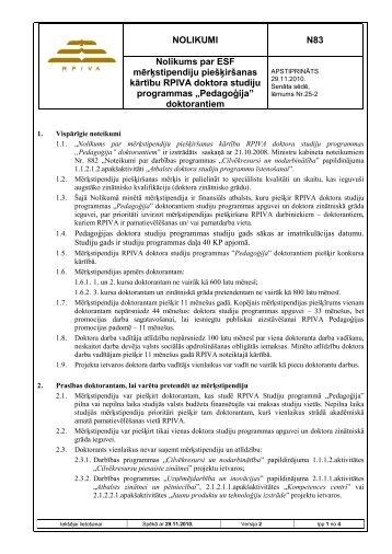 NOLIKUMI N83 Nolikums par ESF mērķstipendiju ... - rpiva