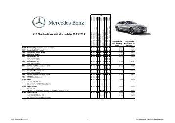 Prisliste for CLS Shooting Brake VAN ekstraudstyr - Mercedes-Benz ...