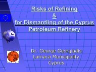 Risks of Refining & for Dismantling of the Cyprus ... - Euromedina