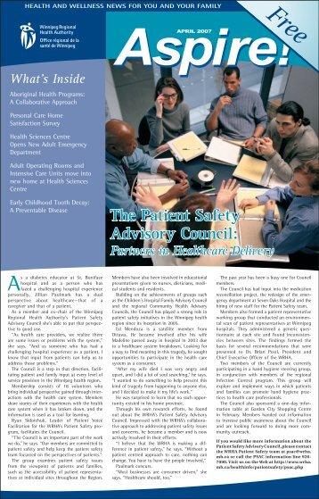 Aspire: April 2007 - Winnipeg Regional Health Authority
