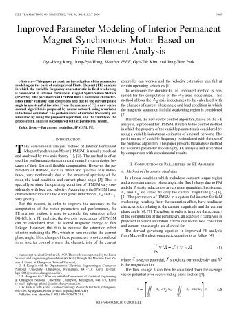 Improved parameter modeling of interior permanent magnet ...