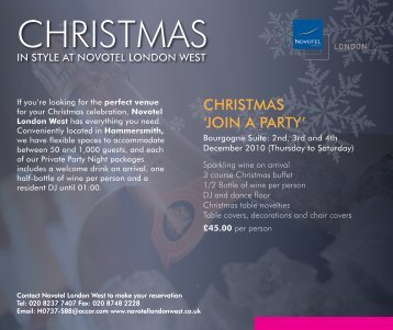 CHRISTMAS 'JOIN A PARTY' - Novotel London West