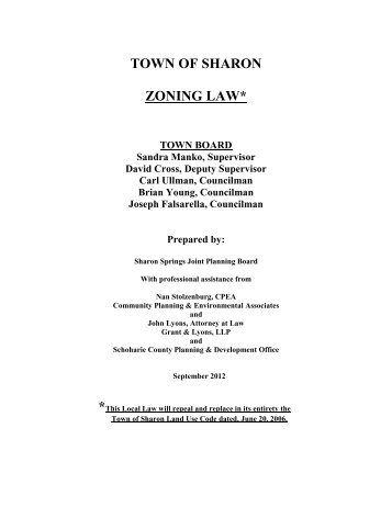 TOWN OF SHARON ZONING LAW* - Schoharie County