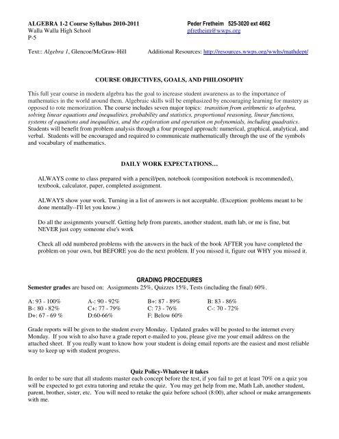 Algebra Syllabus pdf
