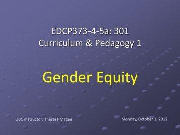 Oct 1 – Gender Equity