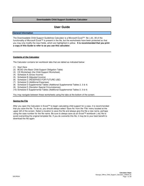 Georgia S Downloadable Manual Pdf Child Support Worksheet And