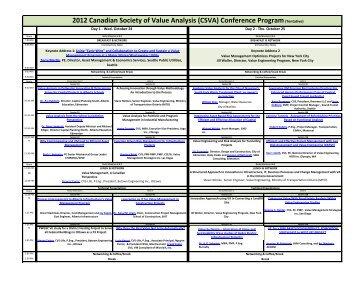 (CSVA) Conference Program(Tentative) - Canadian Society of Value ...