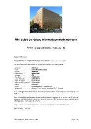 Mini guide du réseau informatique math.jussieu.fr - Free