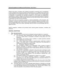 General Exceptions Conditions and Provisions