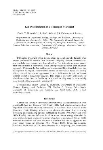Kin Discrimination in a Macropod Marsupial - UCLA Department of ...