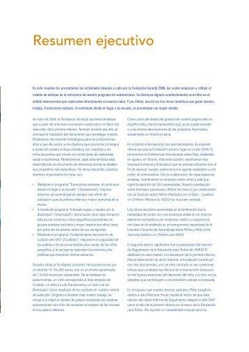 Resumen ejecutivo - Bernard van Leer Foundation