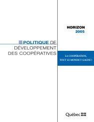 Politique de développement des coopératives - Budget