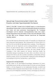 Neuartige Zusammenarbeit stärkt die Events und ... - Swiss Top Sport