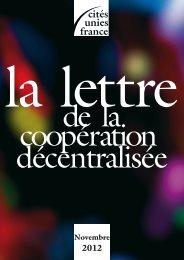 La Lettre - novembre 2012 - Cités Unies France