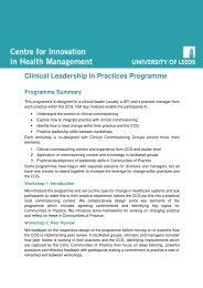 Clinical Leadership in Practices Programme