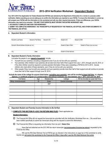Verification Worksheet - Dependent Student - Fort Valley State ...