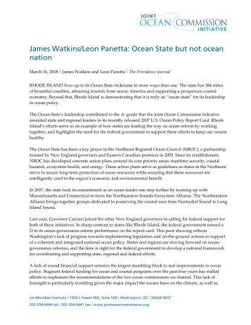 James Watkins/Leon Panetta: Ocean State but not ocean nation