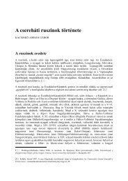 A csereháti ruszinok története - PTE Egyetemi Könyvtár