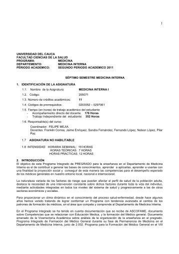 Medicina Interna I - Facultad Ciencias de la Salud - Universidad del ...