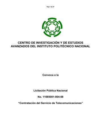 licitacion publica internacional - Administración del Cinvestav