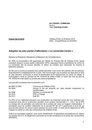 Préavis 01-2010 - Adoption PPA La Lécherette ... - Château-d'Oex