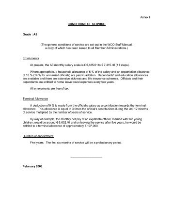 Annex II CONDITIONS OF SERVICE Grade : A3 (The general ...