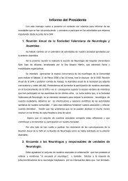 Informe del Presidente - Sociedad Valenciana de Neurología