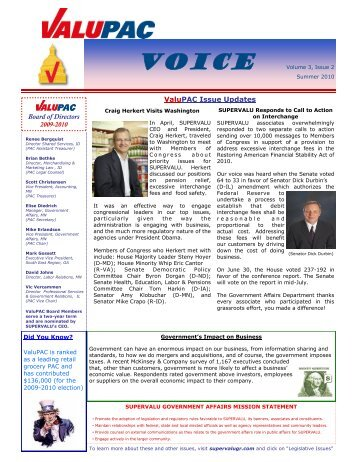 ValuPAC Issue Updates Board of Directors - BIPAC