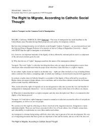 The Right to Migrate, According to Catholic Social Thought