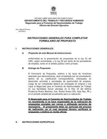 instrucciones generales para completar formulario de propuesta