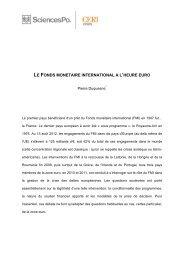 Le fonds monétaire international à l'heure euro - Sciences Po