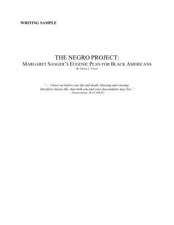 The Negro Project And Margaret Sanger - The Issues4Life Foundation