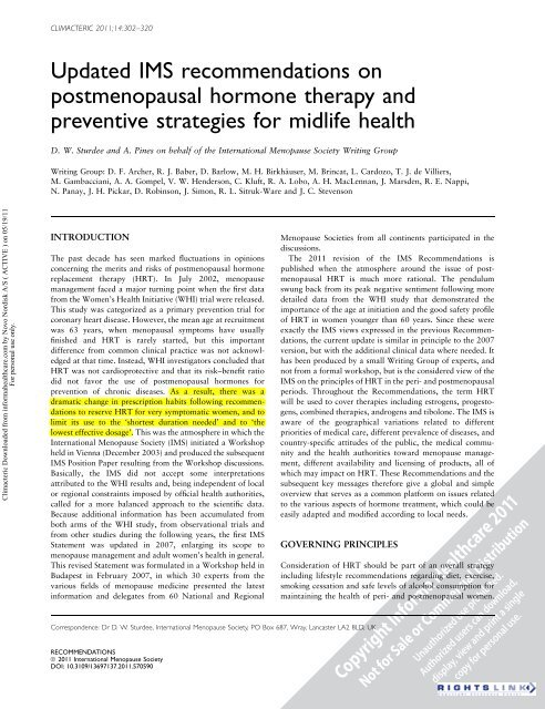 Updated IMS recommendations on postmenopausal hormone ... - LIF