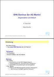 SHK-Seminar der AG Martini Organisation und Ablauf