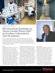 Watson LIMS at PRA International - Thermo Fisher Scientific