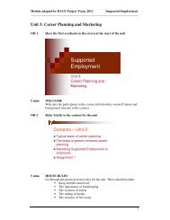 Unit 3: Career planning and marketing - Supported employment ...