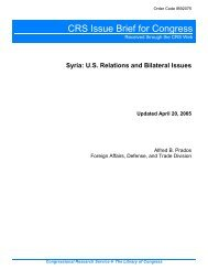 Syria: U.S. Relations and Bilateral Issues [Updated April ... - PARDS