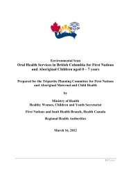 Oral Health Services in British Columbia for First Nations and ...