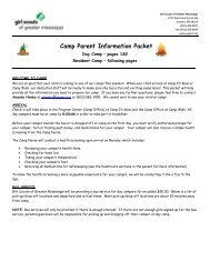 Camp Parent Information Packet - Girl Scouts of Greater Mississippi
