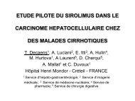 Etude pilote du SIROLIMUS dans le carcinome ... - Afef