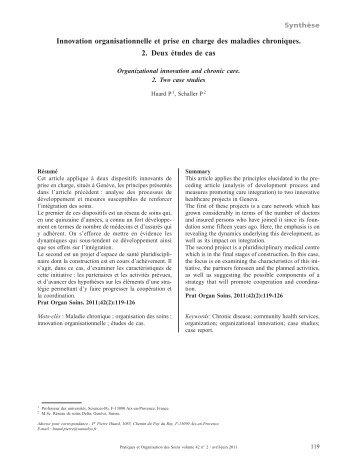 Innovation organisationnelle et prise en charge ... - Sciences Po Aix